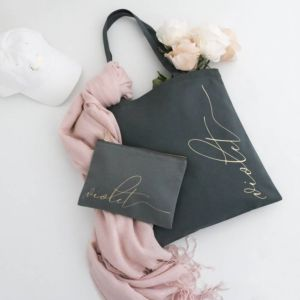 Personalized Tote and Cosmetic Bag Set