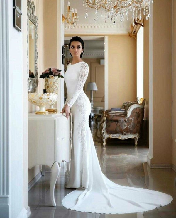 Lace Appliqued Boho Bridal Gown